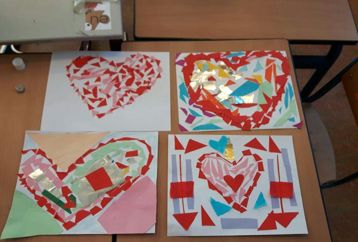 Thema valentijn: met groep 3 harten mozaïeken!