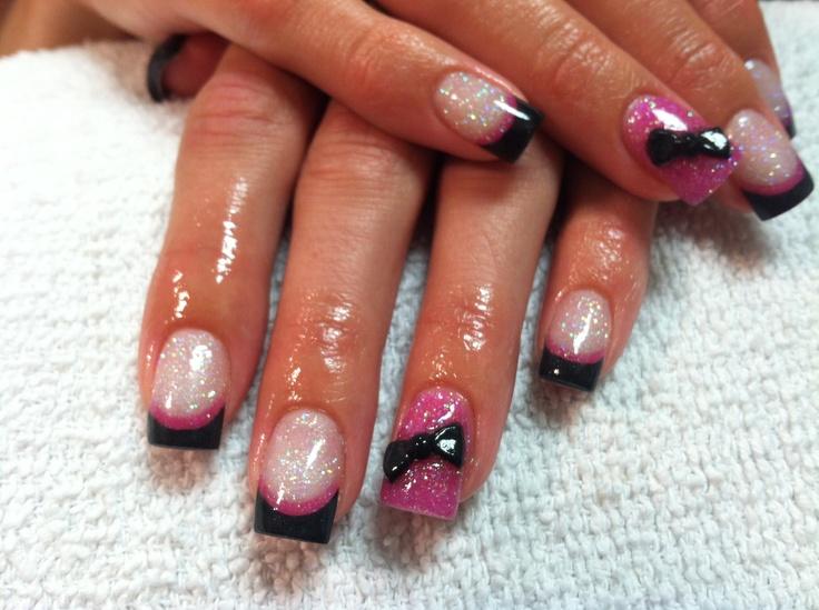 Acrylic nails pink black glitter bows | My acrylic nails ...