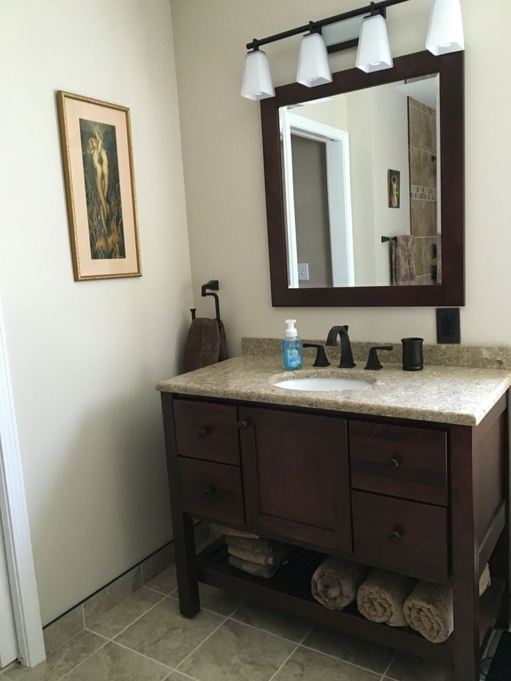 Bertch Vanity In Brindle Bertch Mirror Cambria Quartz Top In Berkeley Delta Dryden