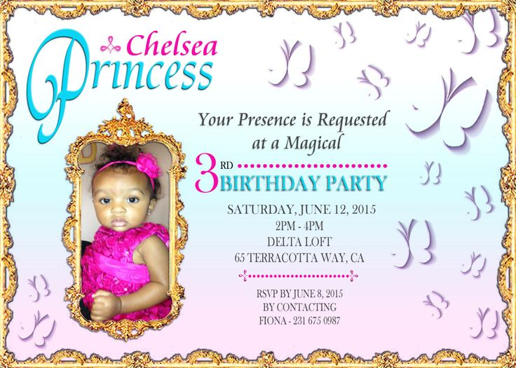A personal favorite from my Etsy shop https://www.etsy.com/ca/listing/244208300/butterfly-birthday-invitation-princess