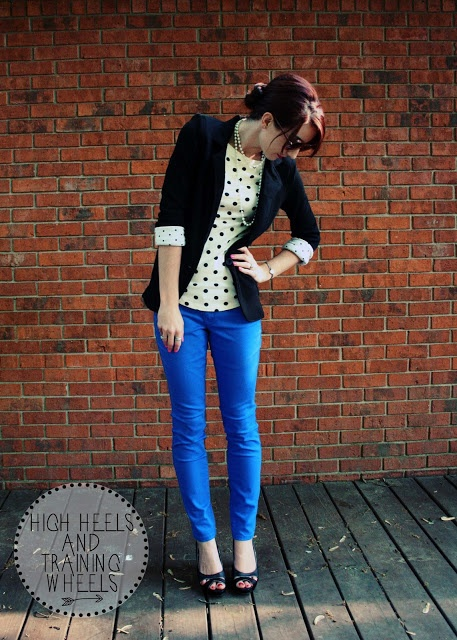 Very cute. Love the bright blue skinny jeans, and I love the polka-dots w/matching blazer!