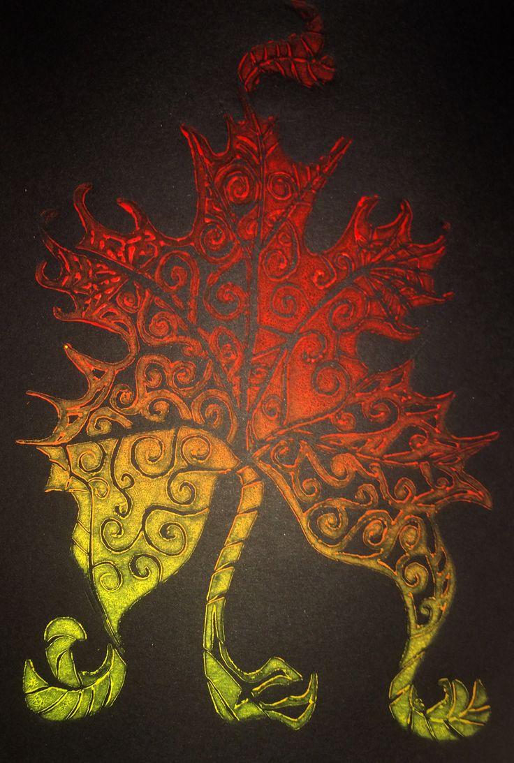 #linocut #leaf #dragon #ritara