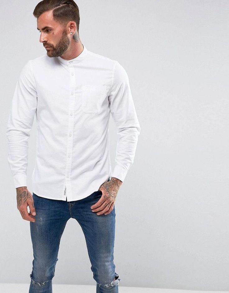 Original Penguin Collarless Heritage Slim Fit Shirt Oxford Stretch in