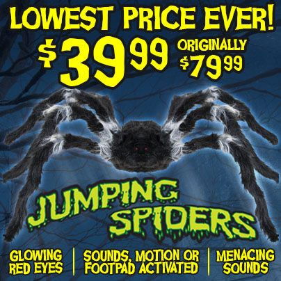 Spirit Halloween's exclusive Jumping Spider animated decoration is now at it's lowest price ever! Get the Jumping Spider at your local Spirit Halloween store for $39.99 today!
