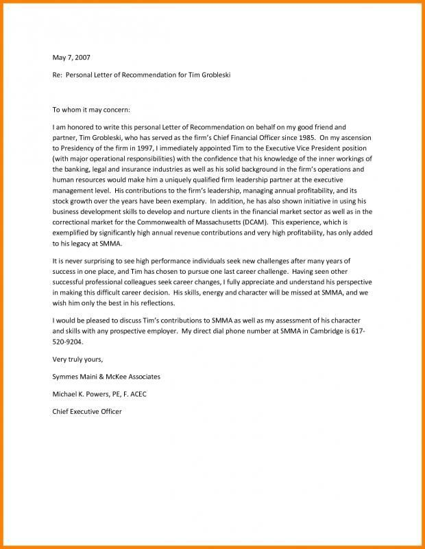Sample Letter Of Recommendation Personal Reference Letter