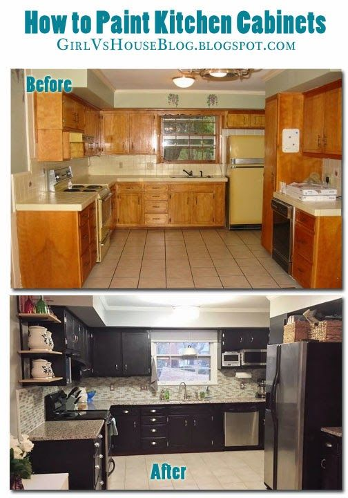 How to paint kitchen cabinets! Great step by step tutorial. Girl vs. House