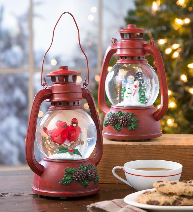 Love the Cardinals! Musical Snow Globe Lantern | Indoor Holiday Decorations
