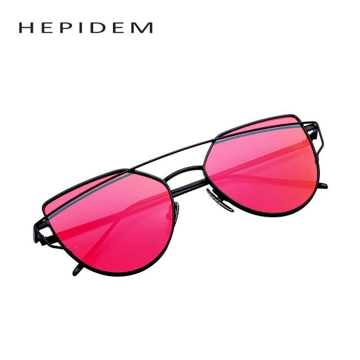2016 New Women 6 Colour Luxury Cat Eye Sunglasses Women Sunglasses Double-Deck Alloy Frame UV400 Sexy Sun Glasses HEPIDEM