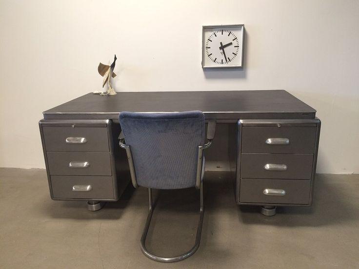 Ahrend Oda Art Deco stripped / polished desk