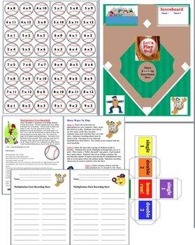 Multiplication Baseball Activities Math Centers- 4 Ways to Play- $2.95