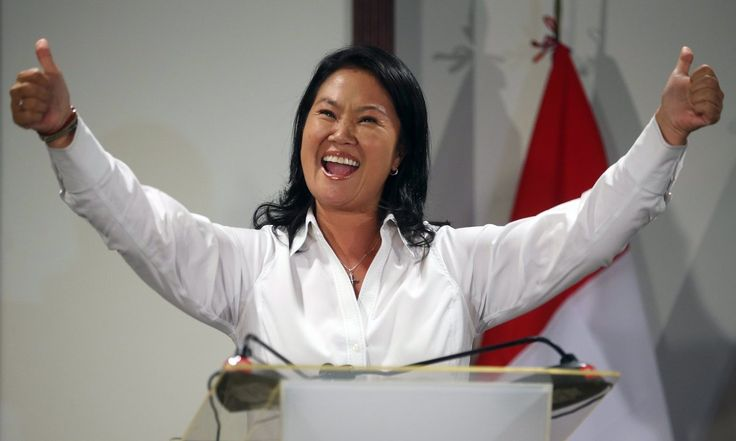 The daughter of jailed former president Alberto Fujimori is likely to face the veteran economist Pedro Pablo Kuczynski in the June run-off