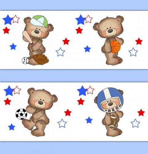 Teddy Bear Sports Baby Nursery Wallpaper Border Wall Art Decals
