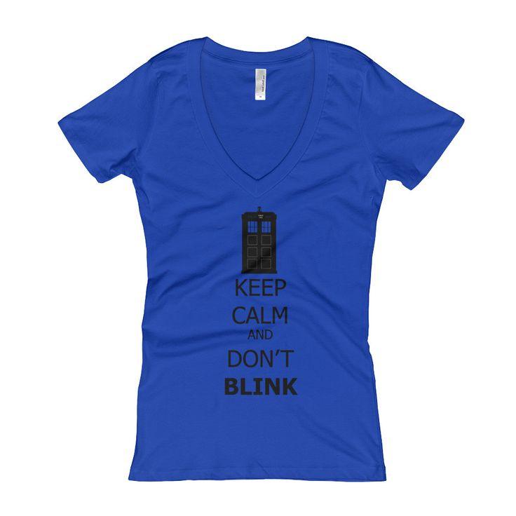 Keep Calm and Don't Blink Black Lettering Women's V-Neck T-shirt