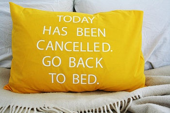 'Today has been cancelled. Go back to bed' cushion. We love anything with a bit of humour!