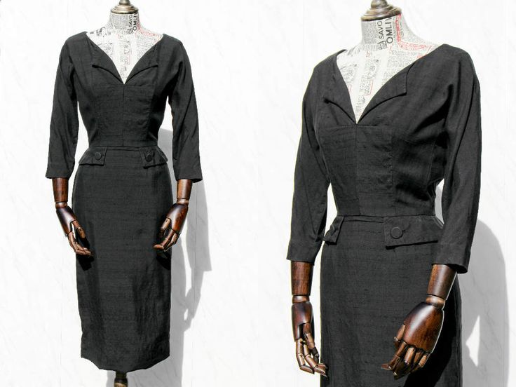 Maison Mendessolle 50s Dress • Little Black Wiggle Dress • Vintage 1950s Dress with Sleeves • Linen Dress • Dita Pin Up Fitted Dress. XS by Venelle on Etsy