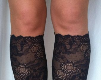 Lace Boot Cuff Socks Nude Light Mocca Lace by VANAGScreative