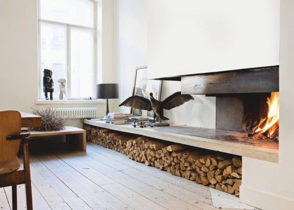 fireplace/wood storage: Modern Fireplaces, Logs, Clean Line, Interiors, Living Room, Indoor Fireplaces, Storage Idea, Firewood Storage, Woods Storage