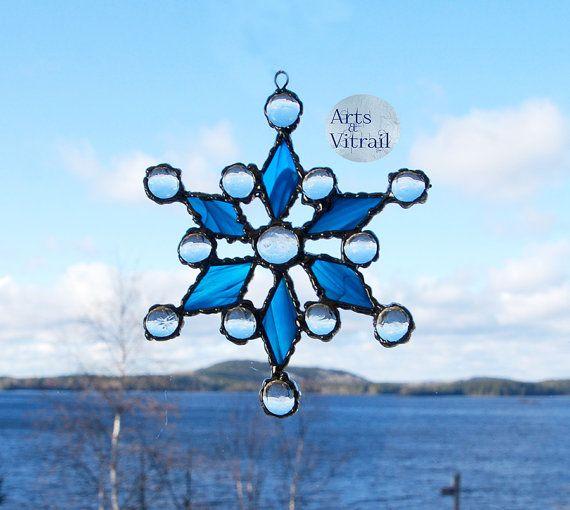 Flocon vitrail flocon bleu flocon neige décoration par ArtsVitrail