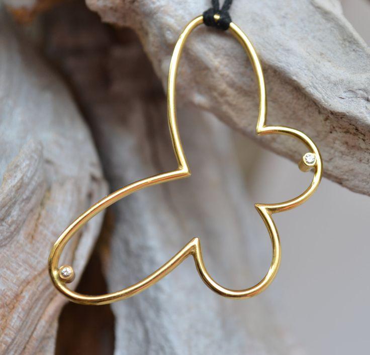Diamond Butterfly Pendant by ViazisJewelry on Etsy