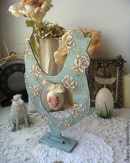"""Пасхальный сувенир """"Винтажный петушок"""" - голубой,пасхальный сувенир,пасхальный подарок"""