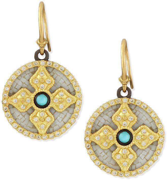 Armenta 18k Mosaic Diamond Cross Earrings