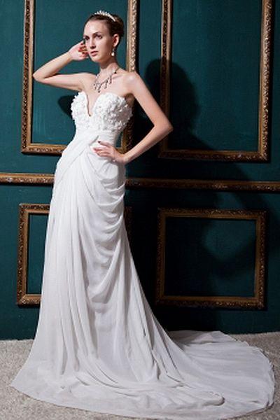 Sweetheart A-Line Chiffon Wedding Gowns wr0158 - http://www.weddingrobe.co.uk/sweetheart-a-line-chiffon-wedding-gowns-wr0158.html - NECKLINE: Sweetheart. FABRIC: Chiffon. SLEEVE: Sleeveless. COLOR: Ivory. SILHOUETTE: A-Line. - 146.59