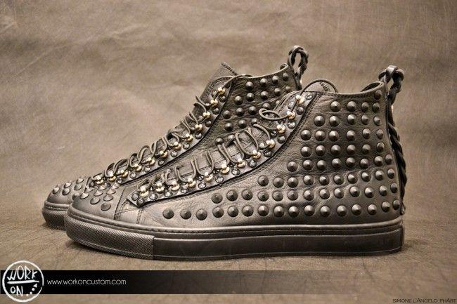 Work_On leather shoes - #leather #shoes #custom #studs #sneakers #workon #fashion #handmade #madeinitaly - www.workoncustom.com -mod. Badass