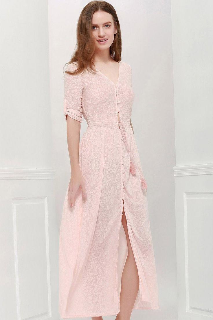 Bohemian 3/4 Sleeve V Neck Printed Women's Maxi Dress - PINK XL