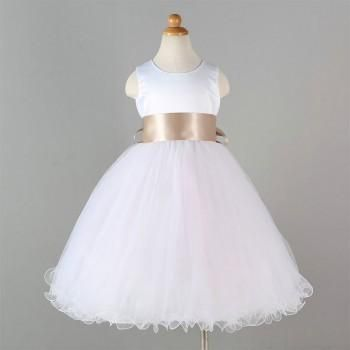 Champagne Bowtie-Accent Sleeveless A-Line dress for Baby & Girls