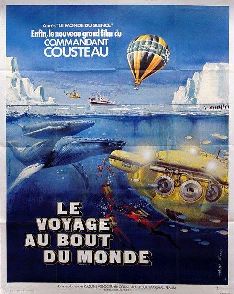 Le voyage au bout du monde, affiche du documentaire du Commandant Cousteau, 1975 /  Collections du Musée du Vivant - AgroParisTech