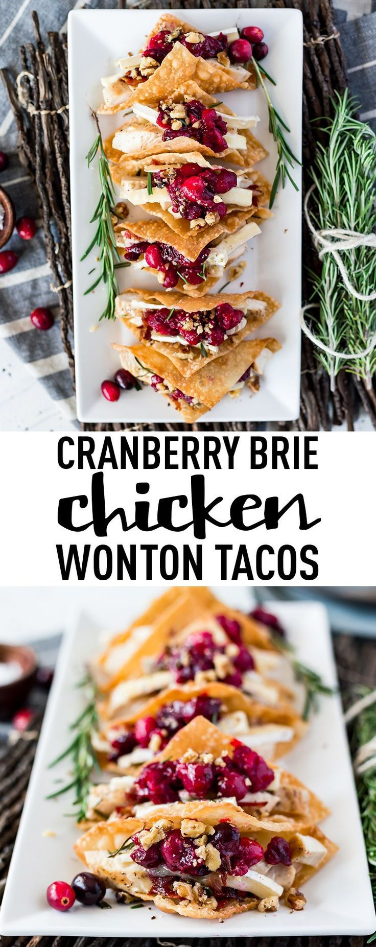 Cranberry Brie Chicken Wonton Tacos. I love appetizers. There's an amazing variety of appetizers to be had or created and seriously how much fun is it to nibble on different appies. These Cranberry Brie Chicken Wonton Tacos are no exception. I'm addicted to them, give me a table full of appetizers like these and I'm set, that's my kind of meal. #chicken #recipe #wontontacos #chickenwontontacos #appetizer #holidayappetizers #holidayrecipes #chickenrecipes