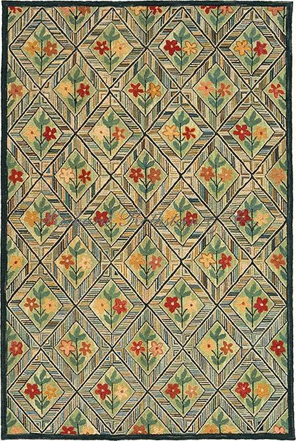 Museum Quality Hand Hooked Rug Flower And Diamond Tiles