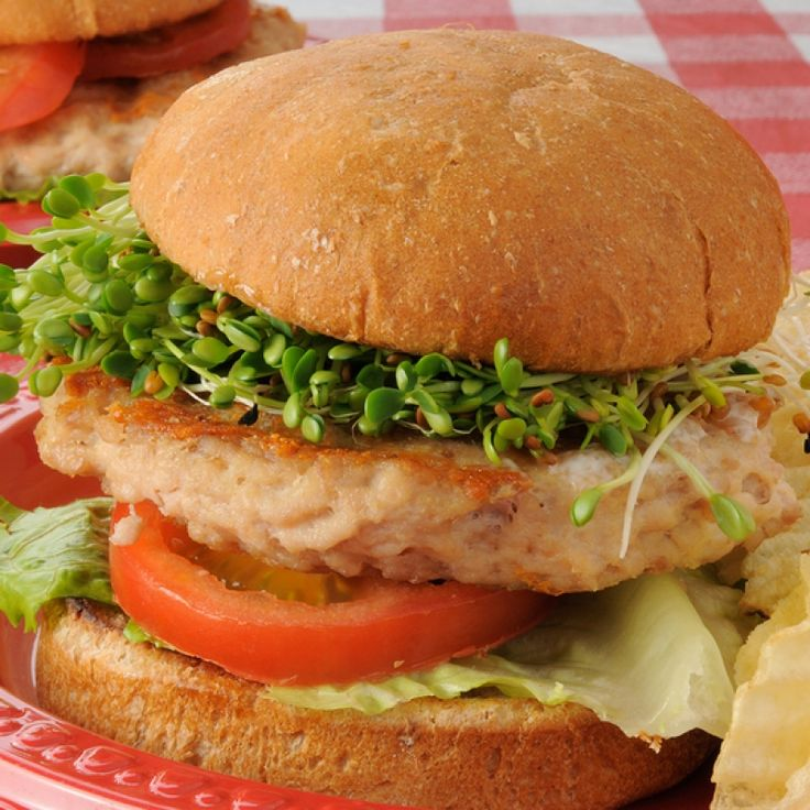 The healthy turkey burgers recipe uses a little applesauce and some other tasty ingredients in the meat mixture.  Served with fresh sprouts, a nutrious food choice!. Healthy Turkey Burgers Recipe from Grandmothers Kitchen.