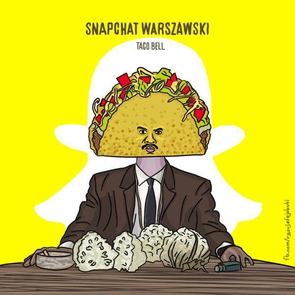 """Nowy rekord na Snapchacie! Filtr Taco Bell, który zamieniał głowę w ogromne taco, w ciągu tylko jednego dnia wyświetlono ćwierć miliarda razy :O Z tej okazji snapchatowa parodia okładki płyty """"Trójkąt Warszawski"""" uwielbianego przeze mnie Taco Hemingwaya  👻"""