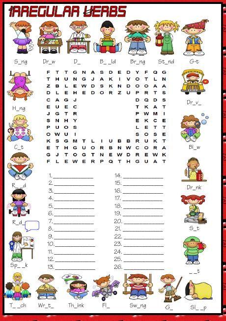 Resultado de imagen para crossword puzzle irregular verbs pdf ...
