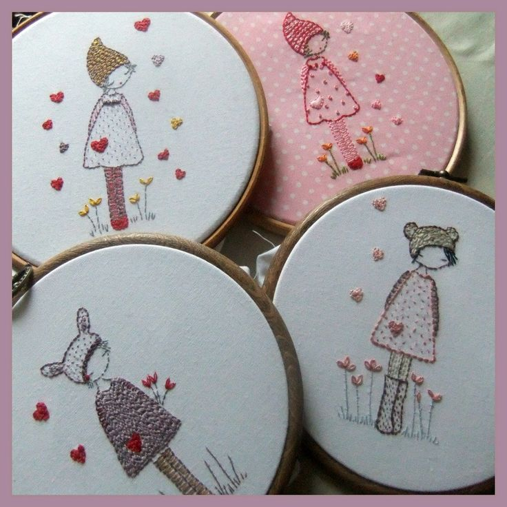 Three girls in hats embroidery pattern PDF.
