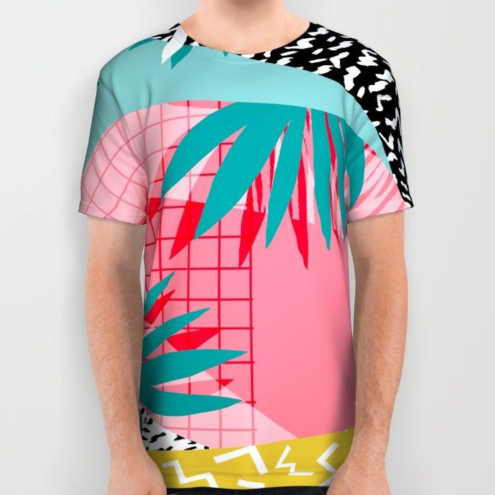 Bingo - throwback retro memphis neon tropical socal desert festival trendy hipster pattern pop art  All Over Print Shirt