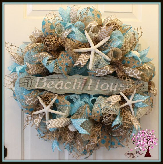 beach themed deco mesh wreaths - Google Search