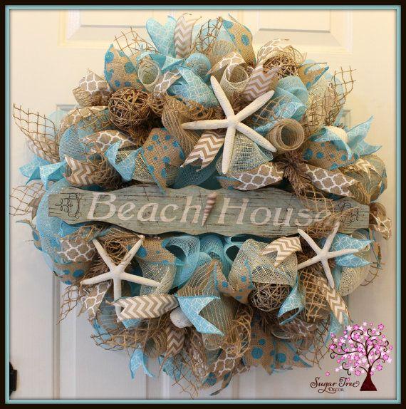 beach themed deco mesh wreaths - Google Search