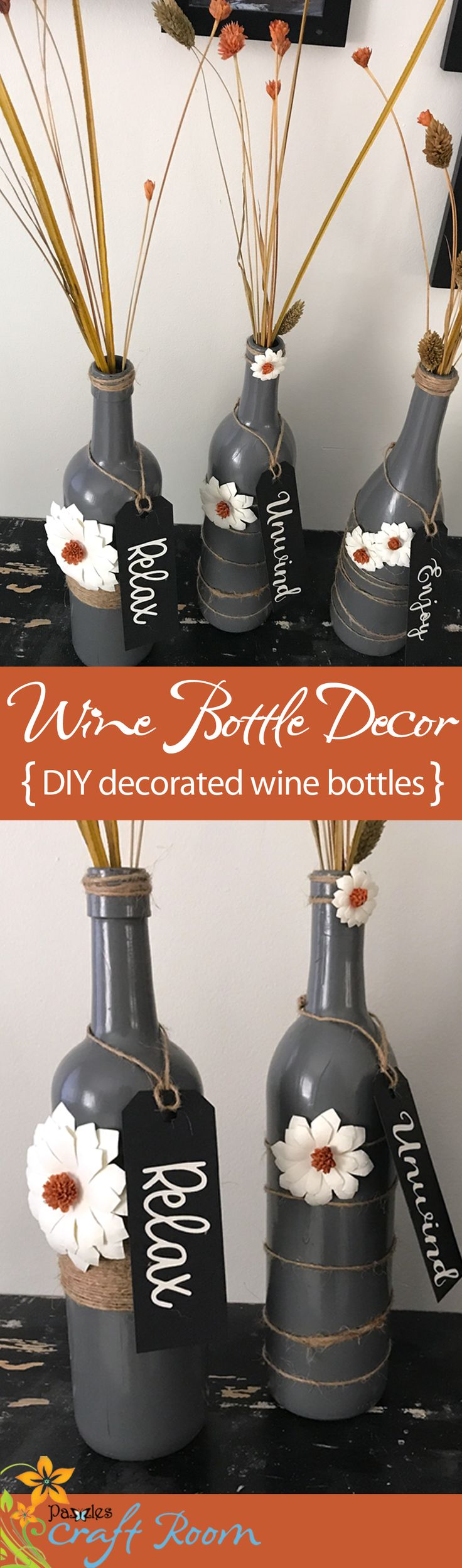 Quick and easy home decor made from wine bottles, paint, jute, and of course some paper flowers and tags cut with your machine! #paintedwinebottles
