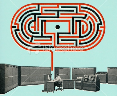Man Working With a Maze Above