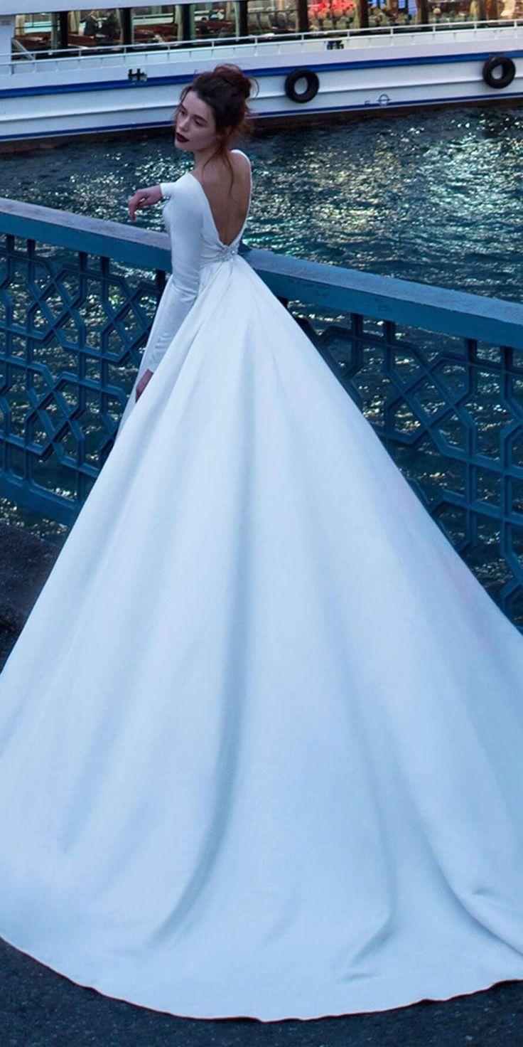 Long Sleeves deep open back ball gown wedding dress #wedding #weddinggown #weddi…