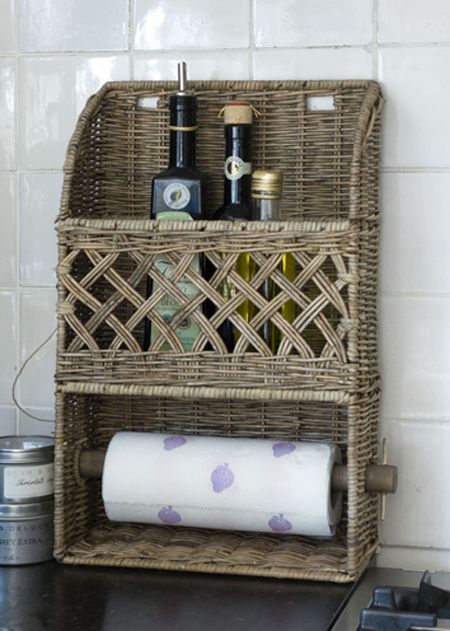 Rustic Rattan Kitchen Roll Holder
