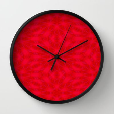 Red Poinsettias kaleidoscope designed clock - Image of a leaf digitally altered into this lovely clock.  ($30.00) by Khoncepts.com