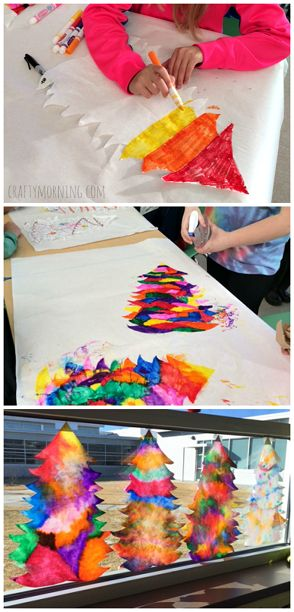 Coffee filter Christmas tree suncatcher craft for kids! | CraftyMorning.com
