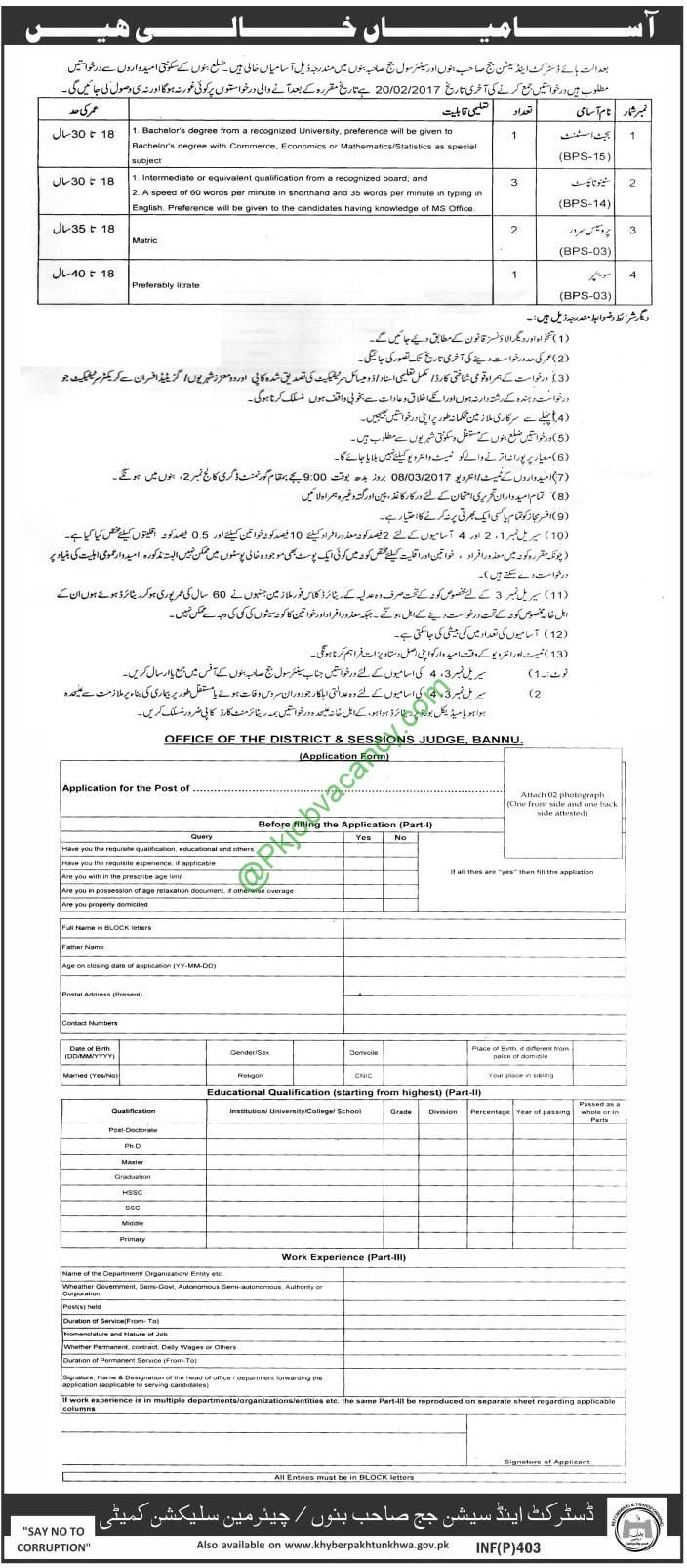 District and Session Court Bannu Jobs For Senior Civil Judge Bannu 26 January 2017