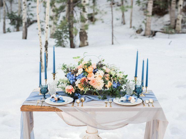 City Blossoms   Las Vegas Wedding Florist   Wintry Blue Wedding At Mount Charleston. Photography: Kristen Joy