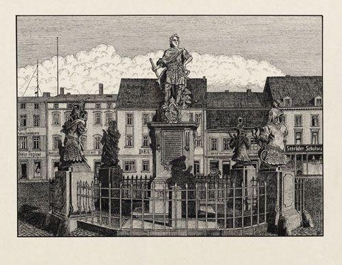 Köslin. Markt mit Denkmal König Friedrich Wilhelms I. in Preußen  Monogrammist A W  Deutschland, um 1900  Federzeichnung  Deutsches Historisches Museum, Berlin