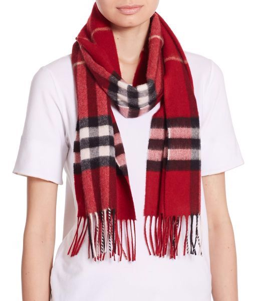 Burberry Parade Red Giant Check Cashmere Scarf Parade Red                   $75.00