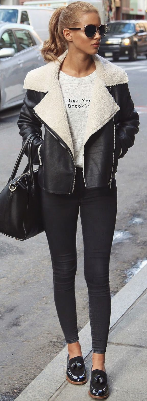 Black And White Shearling Jacket Fall Street Style Inspo #Fashionistas